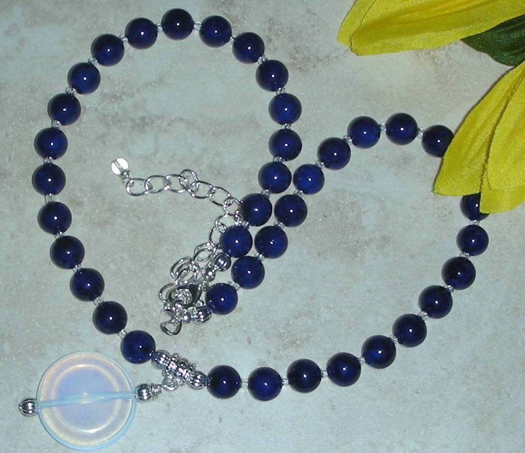 Forever Blue Fossil Beads and 24MM Australian White Fire Opal Necklace