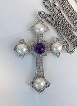 VTG Sarah Coventry CRUSADER Bold Cross Pendant Round Pearls Purple Caboc... - $21.80