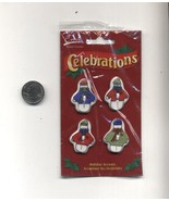 4 Buttons Ugly Christmas Sweater Embellishments Crafts Snowman New - $3.99