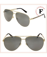 GUCCI WEB 0137 Gold Aviator Metal Silver Mirrored Sunglasses GG0137S Uni... - $287.10