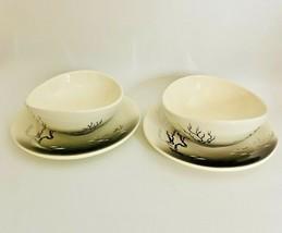 Set of 2 MCM Brock Of California Pottery MANZINITA Desert Scene Bowls & ... - $24.70