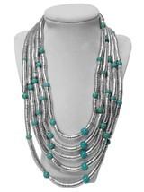 Sade Multi-Strand Statement Bib Necklace - Silver, Turquoise - $7.69