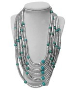 Sade Multi-Strand Statement Bib Necklace - Silver, Turquoise - £5.66 GBP
