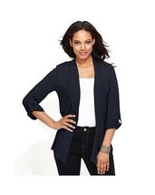 INC International Concept Women Sweater roll tab Sleeves Open Front blac... - $27.71