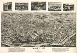 "Asheville, North Carolina 1912 ""Bird's Eye View"" City-view, Aerial Photo... - $3.00"