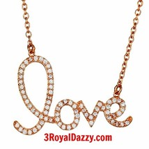 New 14k Pink Rose gold on 925 silver CZ Love word script Necklace Pendan... - $21.46