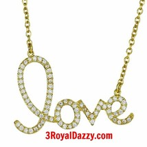 New 925 STERLING SILVER CZ BLING Heart Love Script CHARM Pendant Necklac... - $21.46
