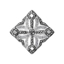 Aura 925 Sterling Silver Marcasite and White Crytal Ring (MR01452W-CR-7) - £34.84 GBP