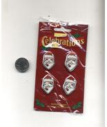 4 Buttons Ugly Christmas Sweater Embellishments Crafts Santa New - $3.99