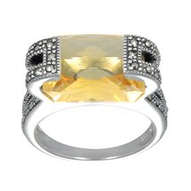 Aura 925 Sterling Silver Marcasite Ring with Yellow Citrine (MR00147CQ) - £87.12 GBP