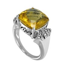 Aura 925 Sterling Silver Marcasite Ring with Champagne Quartz (MR00052CQ) - £37.87 GBP