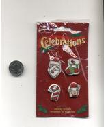4 Buttons Ugly Christmas Sweater Embellishments Craft Stockings Santa Ca... - $3.99