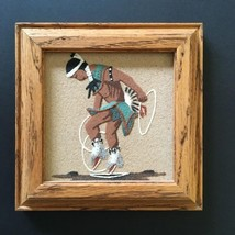 "Navajo HOOP DANCER Sand Painting Wood Frame 5 3/8"" square Signed Johnson - $45.00"