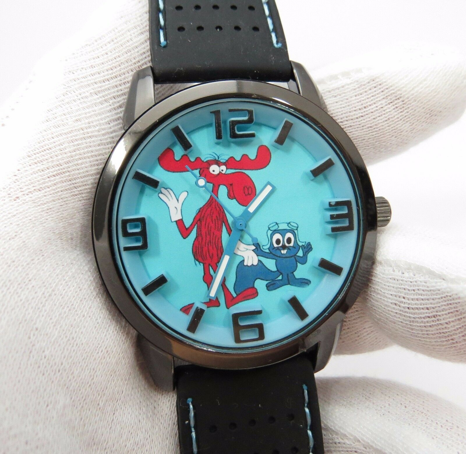 ROCKY & BULLWINKLE, 3D Dial, Neoprene Band, Cool, BIG MANS CHARACTER WATCH, M-3