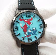 ROCKY & BULLWINKLE, 3D Dial, Neoprene Band, Cool, BIG MANS CHARACTER WAT... - $79.48 CAD