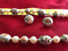 Demi Parure Gold Plate Faux Pearl Necklace & Earring Set Vintage Cloison... - $22.54