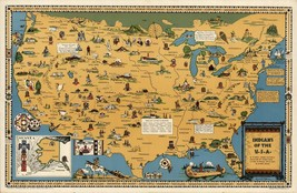 AMERICAN Indians Historic Tribes 1944 pictorial map POSTER 8703 - $15.84