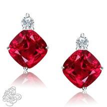 0.02CTTW Womens Stylish Diamond Cushion Ruby Birthstone Stud Earrings 925 Silver - $45.49