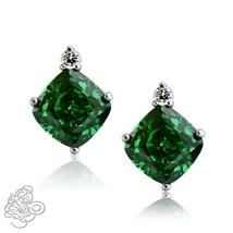 0.02CTTW Women's Stylish Diamond Cushion Emerald Birthstone Stud Earrings Silver - $45.49