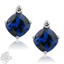 0.02CT Women Stylish TCW Diamond Cushion Sapphire Birthstone Stud Earring Silver - $36.32