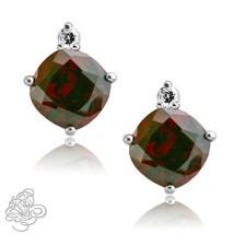 0.02CTTW Women Stylish Diamond Cushion Garnet Birthstone Stud Earring 925 Silver - $45.49