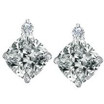 0.02CTTW Women's Stylish Diamond Cushion Gemstone Birthstone Stud Earring Silver - $36.32