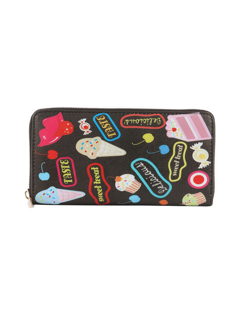 Dessert Print Zip Around Wallet Clutch Purse Cupcake Candy Ice Cream Sweet Treat