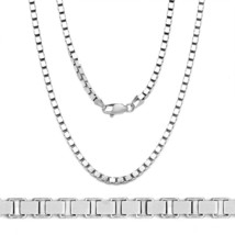 1.7mm Classic Box Link Italian Chain Necklace in Solid 925 Italy Sterling Silver - $34.78