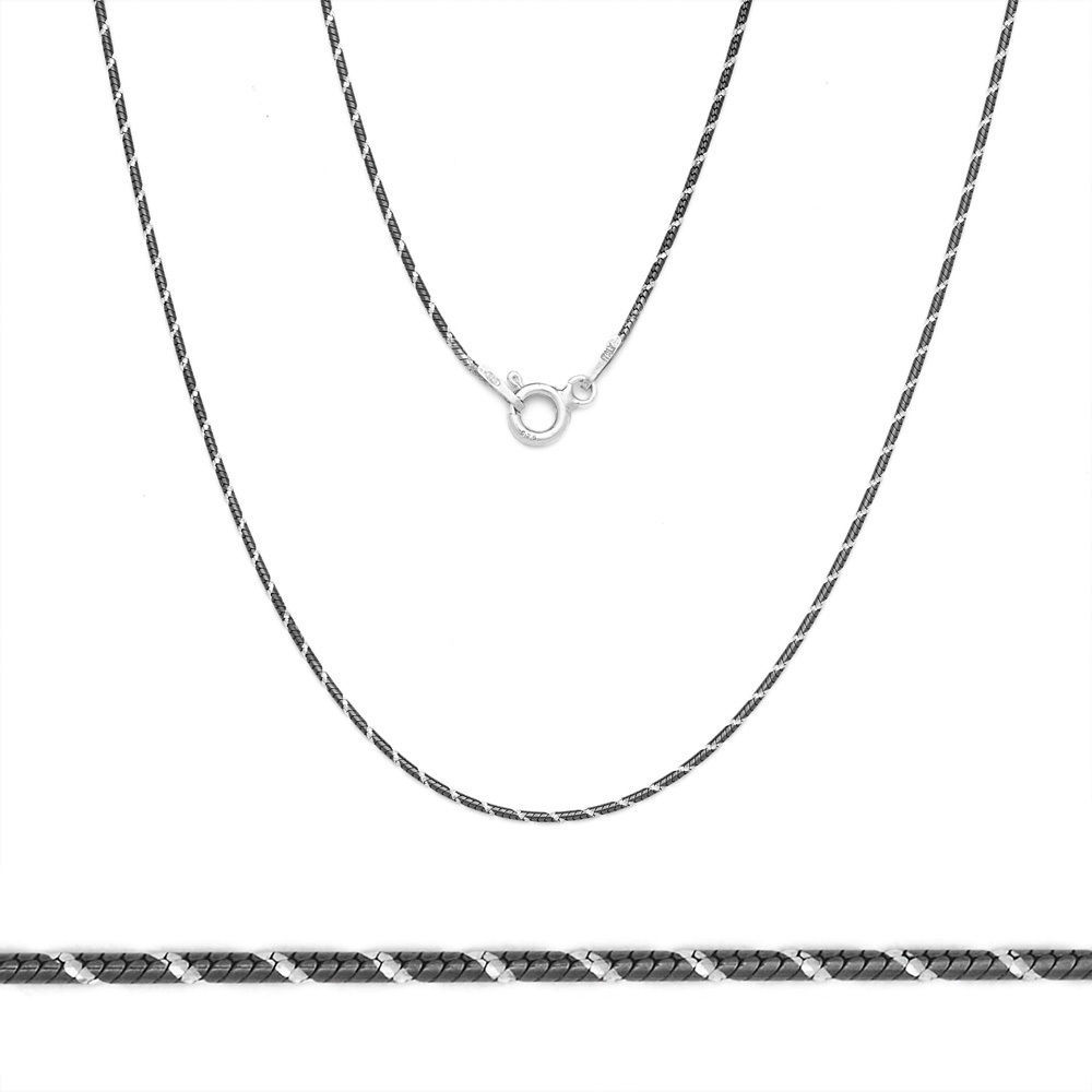 1mm Solid .925 Silver Black Rhodium Plated Snake Link Italy Chain Necklace