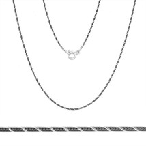 1mm Solid .925 Silver Black Rhodium Plated Snake Link Italy Chain Necklace - $20.24+