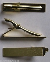 "12 Gold Tone Metal Tie Bar Clip Findings ~ Flat Surface 1.6"" long x .3"" ... - $7.91"