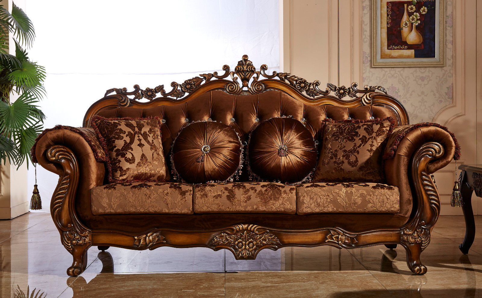 Meridian 692 Living Room Sofa Cherry Chic Traditional Style