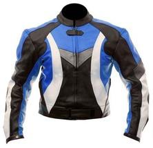 MEN MOTORCYCLE STYLISH LEATHER JACKET, MEN MOTORBIKE BLUE ARMOUR LEATHER... - $159.00