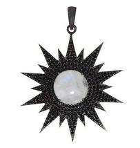 Spark design 925 sterling silver rainbow moonstone & black spinel gemsto... - $33.38