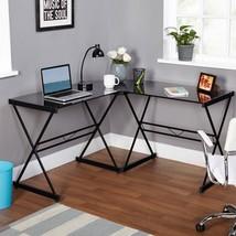 Glass Computer Desk L Shaped Corner Black Metal Home Office Contemporary... - €109,04 EUR