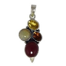 925 Sterling silver pendant with multi gemstone jewelry SHPN0214 - $42.22