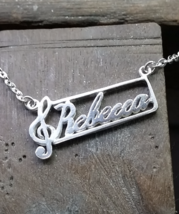 Necklace - Music Note - Personalized Name - 925 Sterling Silver - $78.00