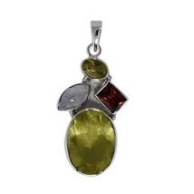 Attractive design 925 sterling silver rainbow moonstone, citrine gemston... - $45.44