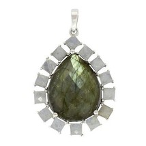 Stylish 925 sterling silver pendant with natural labradorite & rainbow moonstone - $33.57
