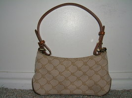RALPH LAUREN TAN SIGNATURE & BROWN LEATHER PETITE PURSE - $10.00