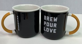 Starbucks 2018 Ceramic Handle Brew Pour Love 12 oz Mug Black Lot of 2  NEW - $30.52