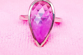 Sterling Silver Pink Amethyst Stone Ring - $40.00