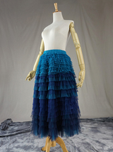 Navy Blue Tiered Tulle Skirt Layered Tulle Midi Skirt Outfit US0-US28 image 2