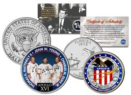APOLLO 16 SPACE MISSION 2-Coin Set US Quarter & JFK Half Dollar NASA AST... - $12.82