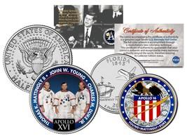 APOLLO 16 SPACE MISSION 2-Coin Set US Quarter & JFK Half Dollar NASA AST... - $12.16