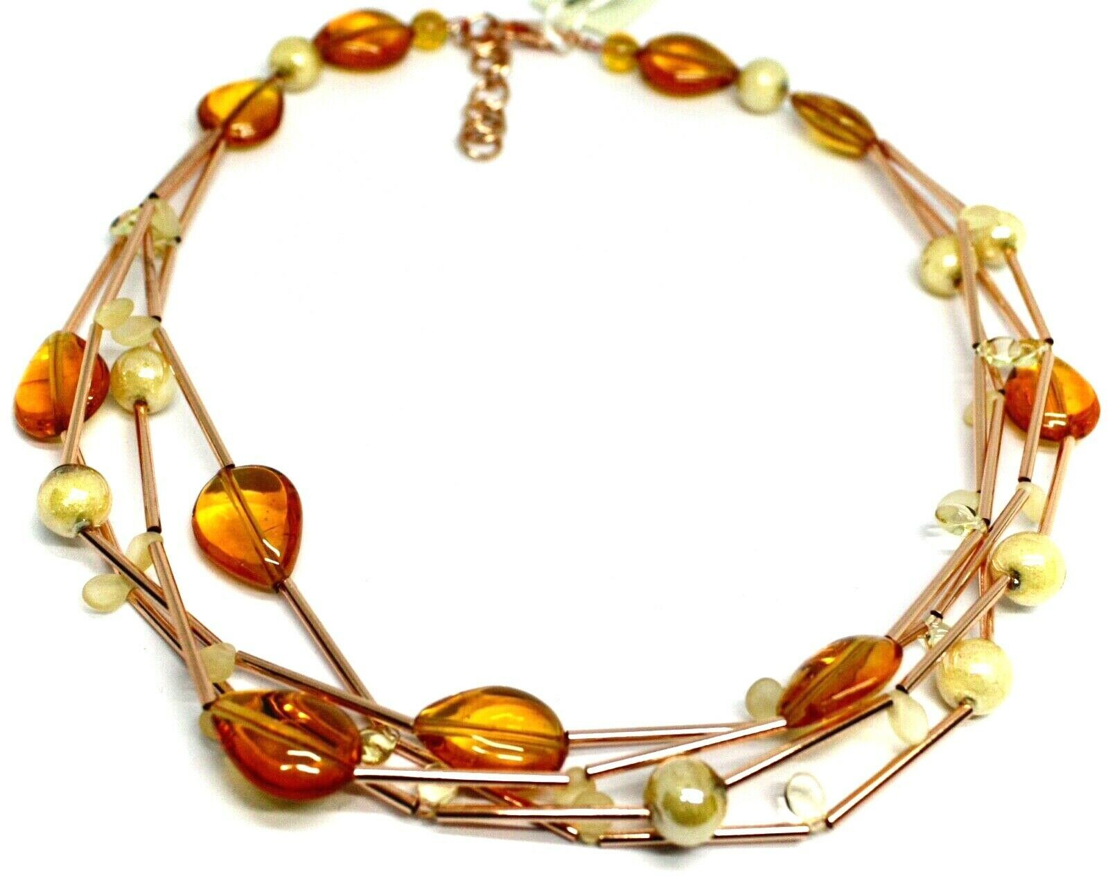 ROSE NECKLACE MULTI WIRES TUBE ORANGE DROP SPHERE PETALS MURANO GLASS ITALY MADE