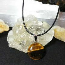 Natural Tigers Eye Necklace Round Pendant Good Luck For Men or Women Hea... - $14.36