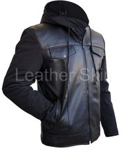 Leather Skin Men Black Hooded Hood Leather Jacket with Soft shell Sleeve... - $149.00