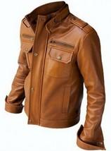 Vintage Tan Men's Biker Leather Jacket .New mens fashion - $159.00