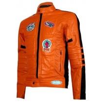 Biker Movie Kill Bill Men Leather Jacket In Orange  .Mens new fashion - $169.00